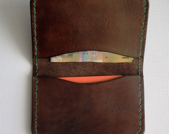 Card Wallet - two pocket brown leather with green stitching