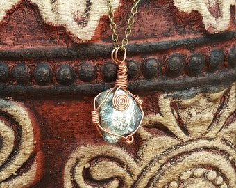Antique Bronze Natural Stone Quartz Pendant Necklace
