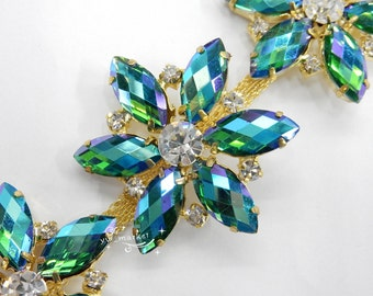one yard costume applique color AB rhinestone trims A530