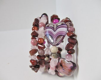 Heartwave Memory Wire Bracelet; Pink and Purple Bracelet, Purple Bracelet, Glass Lampwork Bracelet Jewelry