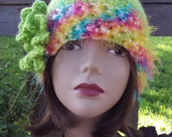 Handmade crochet winter hat with flower and contrast rim