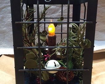 Post Lantern --Christmas Lantern --Primitive Lantern with grungy taper candle --lantern with timer candle