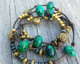 Chrysocolla and brown boho leather wrap around bracelet with gold accent charms, boho wrap bracelet, boho leather, boho bead bracelet