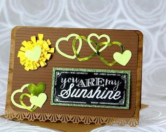 Greeting Card, Sunshine, Encouragement, Hearts, Sun
