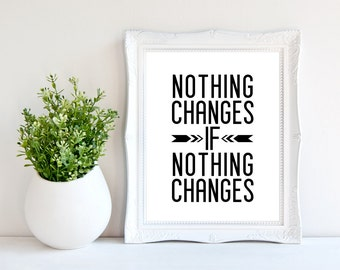 Fitness quote print/ 8 x 10 wall print /motivational print/ ' Nothing changes if nothing changes ' / Instant download / inspirational print