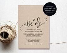 We Do Wedding Invitation Template, Rustic Kraft Invitation, Cheap Invitation, DIY, Kraft Printable, PDF Instant Download #BPB203