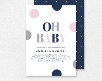 Baby Shower Invitation, Oh Baby, Baby Girl Shower, Baby Shower Invite, Baby Shower Printable, Baby Girl, PDF Instant Download #BPB94_1G
