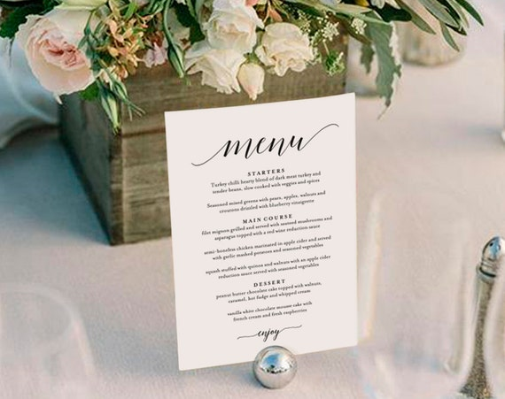 Wedding menu template wedding menu printable wedding menu for Table 6 brunch menu