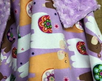 Lavender llamas Alpacas Minky Stroller Blanket