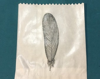 25 x White Paper lolly Sweet Candy Bag - Hand Stamped Boho Feather Bag