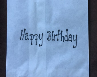 25 x White Paper lolly Sweet Candy Bag - Hand Stamped Happy Birthday bag