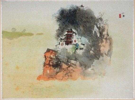 """1936, Japanese antique print, Takeuchi Seihō, """"Mountain"""""""