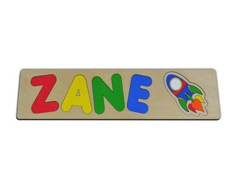 Personalized Wooden Name Puzzle With a Rocket Ship, Space Ship, Space Shuttle id234383975