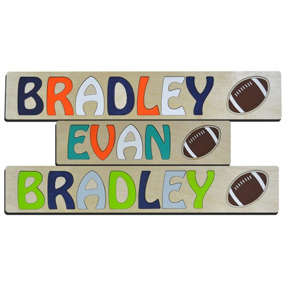 Personalized Wooden Kids Name Puzzle With Football