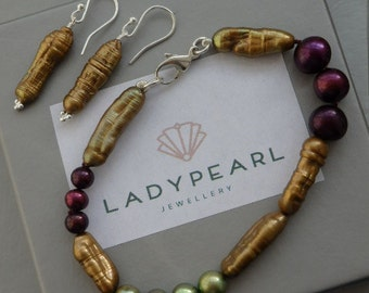 Biwa Pearls, Pearl Bracelet, Pearl Earrings, Biwa Pearl Jewellery, Unique Pearls, Biwa Pearl Jewellery
