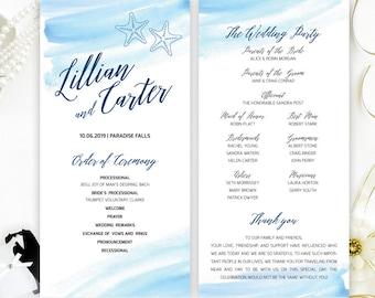 Tropical Wedding Programs Printed On Shimmer Cardstock