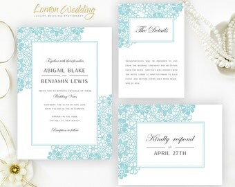 Printed wedding Invitation kits   Turquoise wedding invitations suite personalized: wedding invites, RSVP, enclosure card