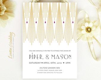 Art Deco Wedding Invitation printed on shimmer paper | Gold wedding invitations | Gatsby wedding invitation | Evening wedding invitations