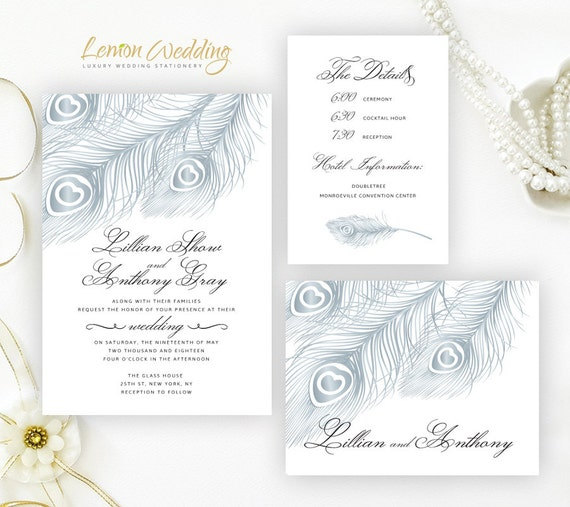 Cheap Cardstock For Wedding Invitations : ... cardstock Feather wedding cards Silver wedding invitations
