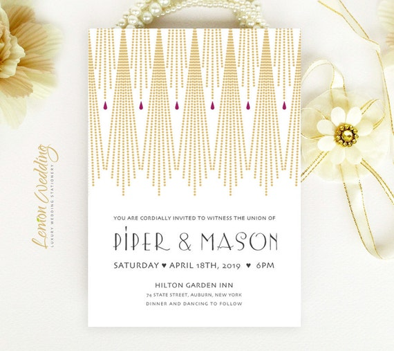 Art Deco Wedding Invitation printed on shimmer paper | Gold wedding invitations | Gatsby wedding invitation | Evening wedding invitations