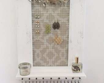 Jewelry Organizer - Jewelry Holder - Hanging Wall Jewelry Organizer - Jewelry Storage