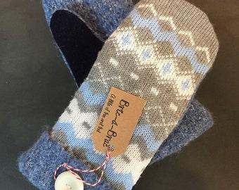 Fleece-lined, wool sweater mittens