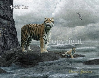 Tiger and Cub Fantasy Art  - Ocean Fantasy Artwork - Tiger Art Wall Print
