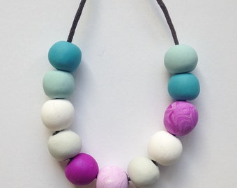 Round Bead Jewellery//Polymer Clay Bead Necklace//Multi Colored Beads/// Pastel Bead Jewellery//Pastel  Beads//Gift for Mum//beach jewellery