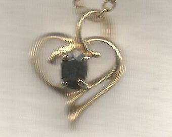 Saphire Pendant Heart Shaped Mounting