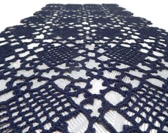 Crochet table runner  Navy lace table runner Crochet tablecloth Blue table runner Navy blue lace doily Navy blue doily