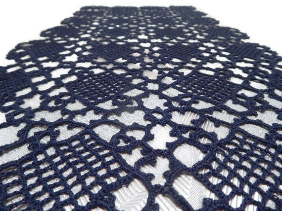Crochet Patterns Lace Table Runners : Crochet table runner Navy lace table runner Crochet