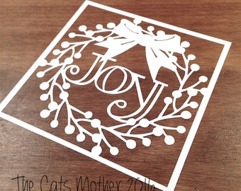 Joy Christmas Wreath Themed Paper Cutting Template - Commercial Use