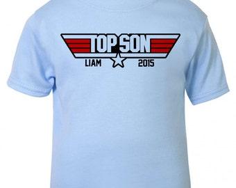 PERSONALISATION -Baby / Toddler T-shirt 'TOP SON' Top Gun Parody T-shirt - Tee