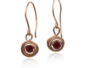 January Birthstone earrings, garnet earrings, wire earrings , goldfilled wire earrings, wire wrapped earrings , January Birthday Jewelry