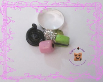 Ring charms licorice fimo
