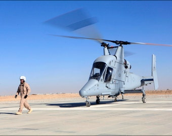 24x36 Poster . Marine Uav Squadron 1 Afghanistan K-Max 2000 Drone Helicopter