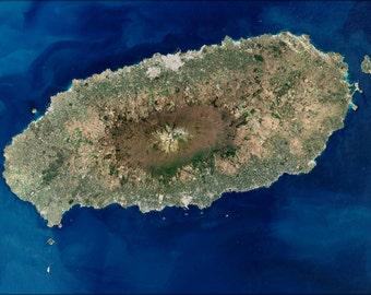 24x36 Poster . Jeju Island Satellite Image Map