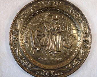 Peerage Welsh Woman with Spinning Wheel Brass Plate made in England