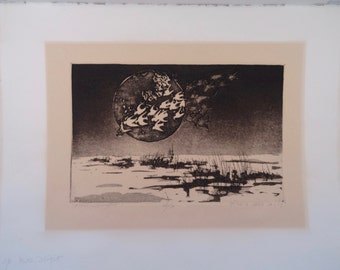 "SALE!!!  Marie Elise Gray Print ""Winter Flight"" Signed by Artist"