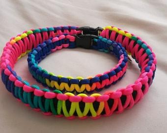 King Cobra or Cobra weave Paracord dog collar, Bright Rainbow
