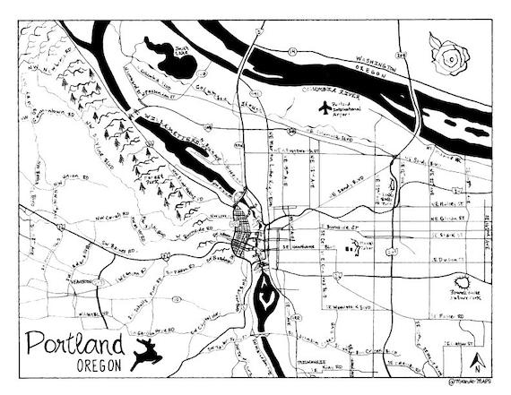 Portland Oregon Hand Drawn Map
