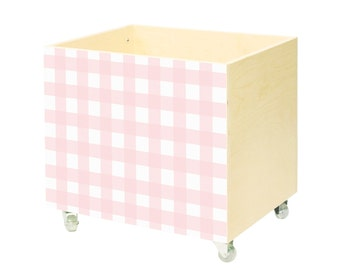 Toy chest, nursery toy box, toy storage,toy hope crate Pink grid, toy storage girl, wooden,on wheels,casters.Toy organizer,swet, white