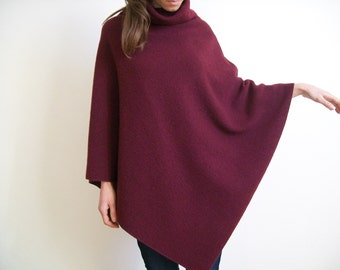100% MERINO WOOL CAPE/ Pure New Wool Poncho/ Women Ponchos/ Wool Sweater/ Burgundy Poncho/ Wool Shawl/ Women Jacket / Spring Clothing / Cape