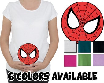 Spiderman mask funny belly. New american super hero. Pregnancy, Maternity top, tunic, t-shirt, tshirt