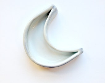 Smoky White Crescent Moon Jewelry Dish