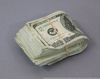 Prop Money Used Look Series 2000s 10,000 Blank Filler Fat Folded Wad for Movie, TV, Videos Novelty