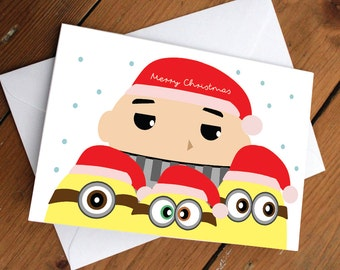 DESPICABLE ME FAMILY- xmas edition //christmas, holidays, festive, red, minions, yellow, cute, greeting cards