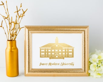James Madison University Foil Print // JMU Gallery Print // Harrisonburg Virginia // Woodrow Wilson Hall // Alma Mater Print // JMU