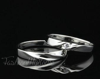 The Initial Ring,Free Engraving,Couples Rings Set,Solid Sterling Silver Ring,Interweave Ring,Wedding Ring Set,His And Her Promise rings