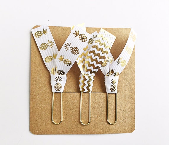 Gold Pineapple and Gold Chevron Ribbon Paper Clips - Set of Three - Great for Planners, Notebooks, Bookmarks & More!